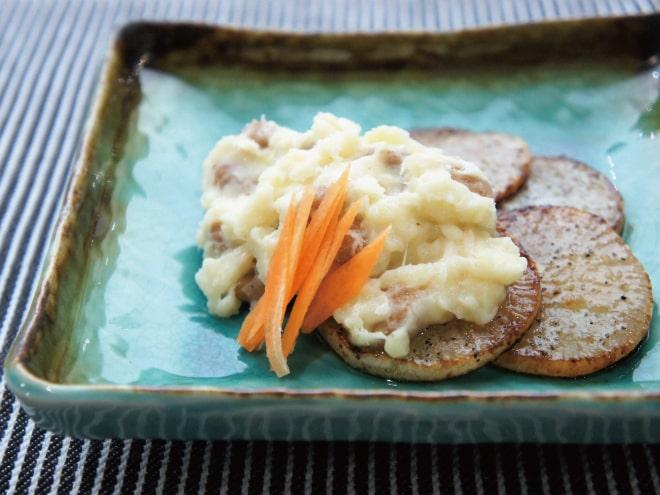 焼き大根と納豆のマッシュポテト