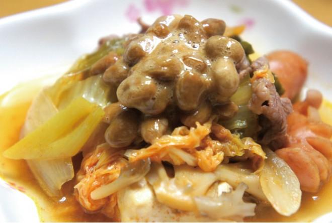 【納豆レシピ】納豆鍋のせ