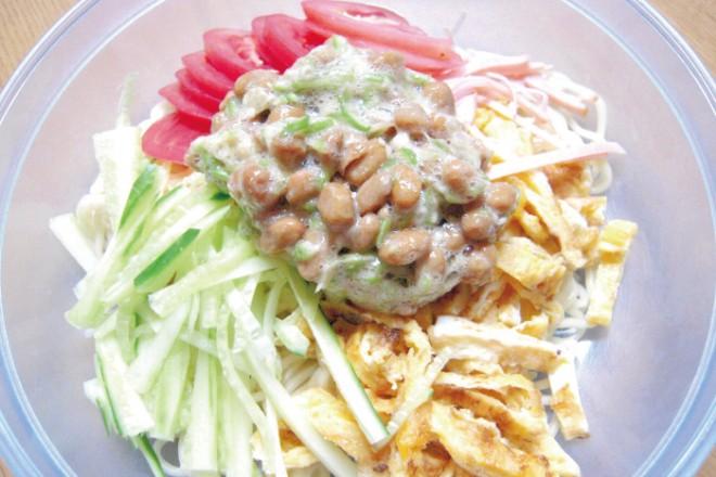 【納豆レシピ】冷やし中華おくら納豆