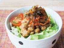 納豆はりはりキムチと松前漬けサラダ